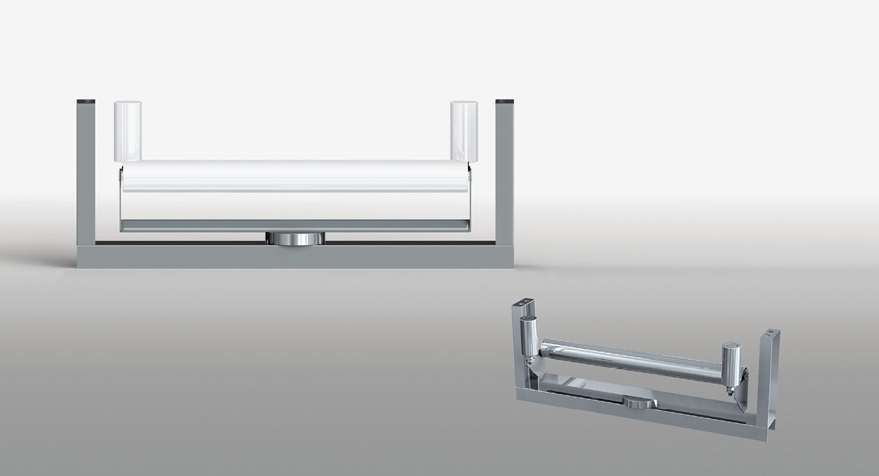 Flat self-centring troughing sets
